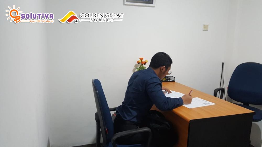 Psikotes untuk level Supervisor PT Golden Great Borneo (tambang batubara dan mineral) di kantor PT Solutiva Consulting Indonesia, Kemang, Jakarta Selatan.