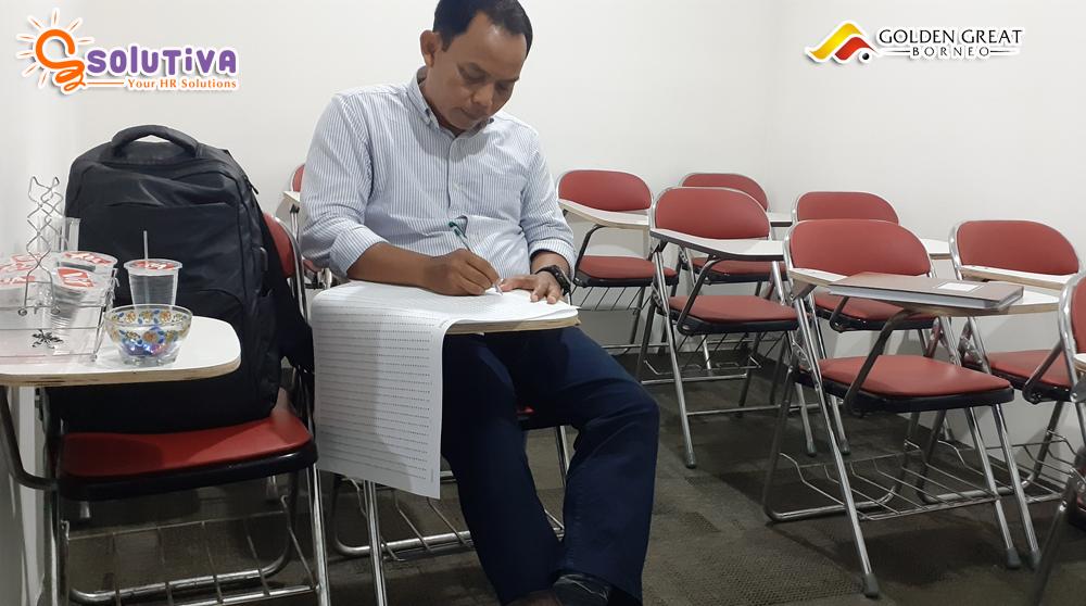 Psikotes untuk level Manager Humas untuk PT Golden Great Borneo di kantor PT Solutiva Consulting Indonesia, Kemang, Jakarta Selatan.
