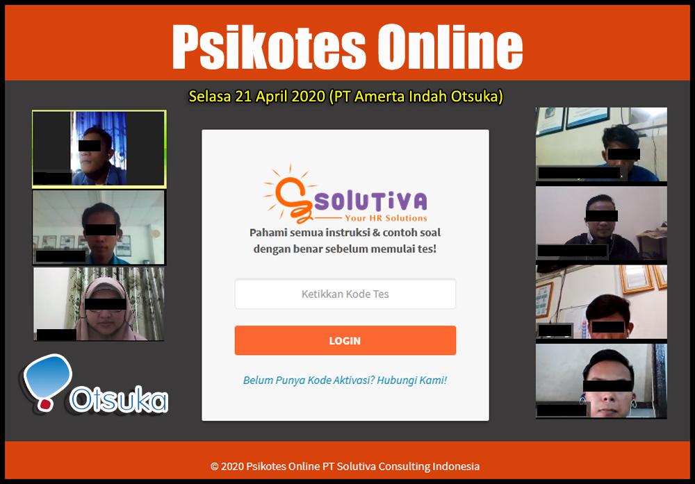 PT Amerta Indah Otsuka (HO) kembali mengirimkan 5 peserta untuk melakukan Psikotes Online