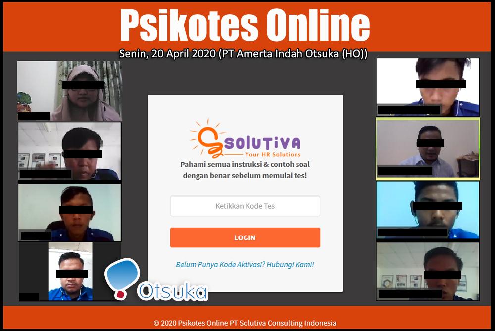 Psikotes Online untuk 6 peserta rekrutmen PT Amerta Indah Otsuka (HO)