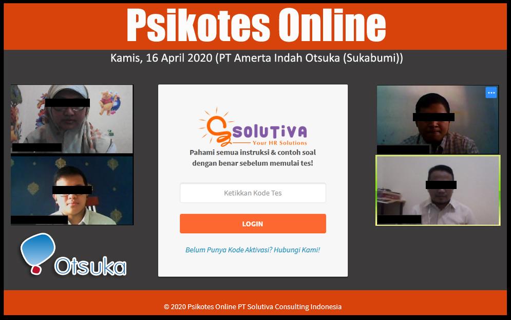 Psikotes Online untuk rekrutmen karyawan PT Amerta Indah Otsuka (Plant Sukabumi)