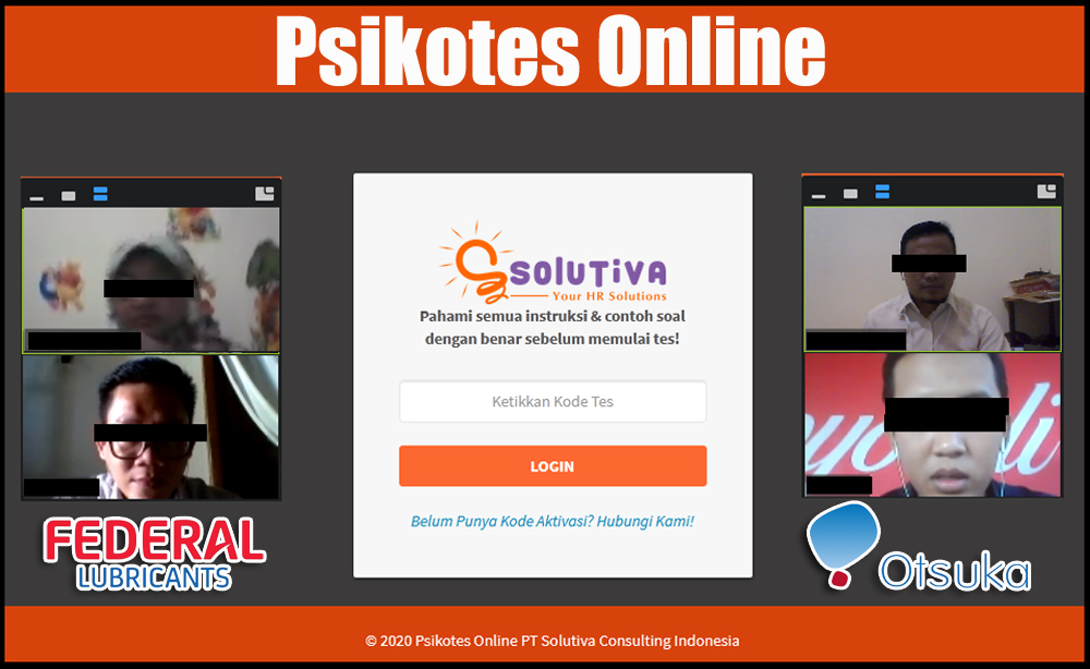 Psikotes Online untuk PT Amerta Indah Otsuka dan PT Federal Karyatama (Federal Oil).